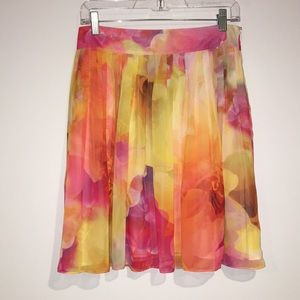 Liz Claiborne petite sheer pleated floral skirt 6P